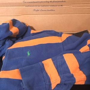 Vintage Polo Rugby Hoodie Blue and Peach Size M